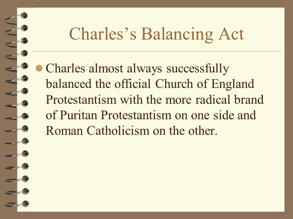 Charles's Balancing Act Charles almost always successfully balanced the official Church of England Protestantism with the more radical brand of Puritan Protestantism on one side and Roman Catholicism on the other.
