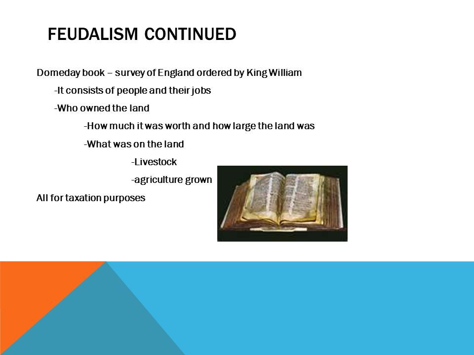 FEUDALISM CONTINUED Domeday book – survey of England ordered by King William -It consists of people and their jobs -Who owned the land -How much it was worth and how large the land was -What was on the land -Livestock -agriculture grown All for taxation purposes