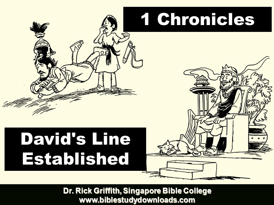 Book Chart 262 David s Line Established David s Line Established David s Line David s Line David s Concern (Ark / Temple) David s Concern (Ark / Temple) Chapters 1–9 Chapters 1–9 Chapters 10–29 Chapters 10–29 Genealogy History Ancestry Activity Saul s Throne to David David s Throne to Solomon David s Throne to Solomon 4143-1011 BC (3132 years) 4143-1011 BC (3132 years) 1011–971 BC (40 years) Davidic Line 1–3TribalLines4–8 Priests / Levites9:1-34 Saul s Line 9:35-44 Accession to Throne 10–12 Respect for Ark 13–17 Military Victories Military Victories18–20 Temple Prep.