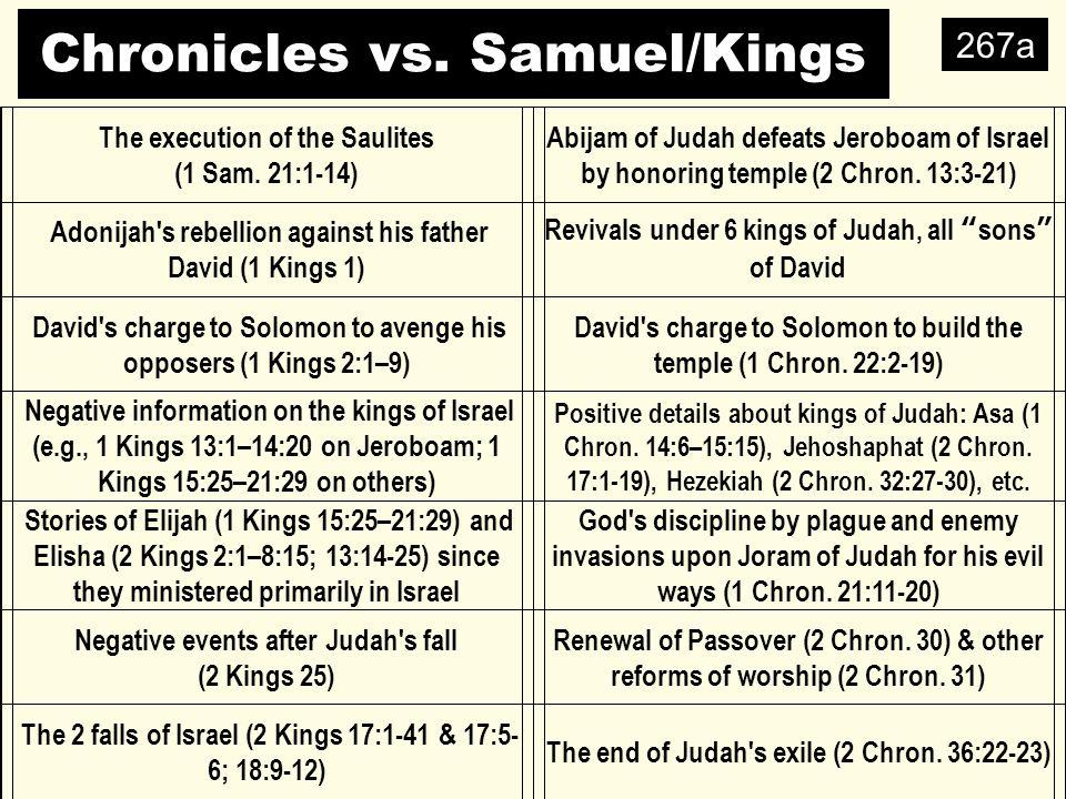 Chronicles vs. Samuel/Kings 267a The execution of the Saulites (1 Sam.