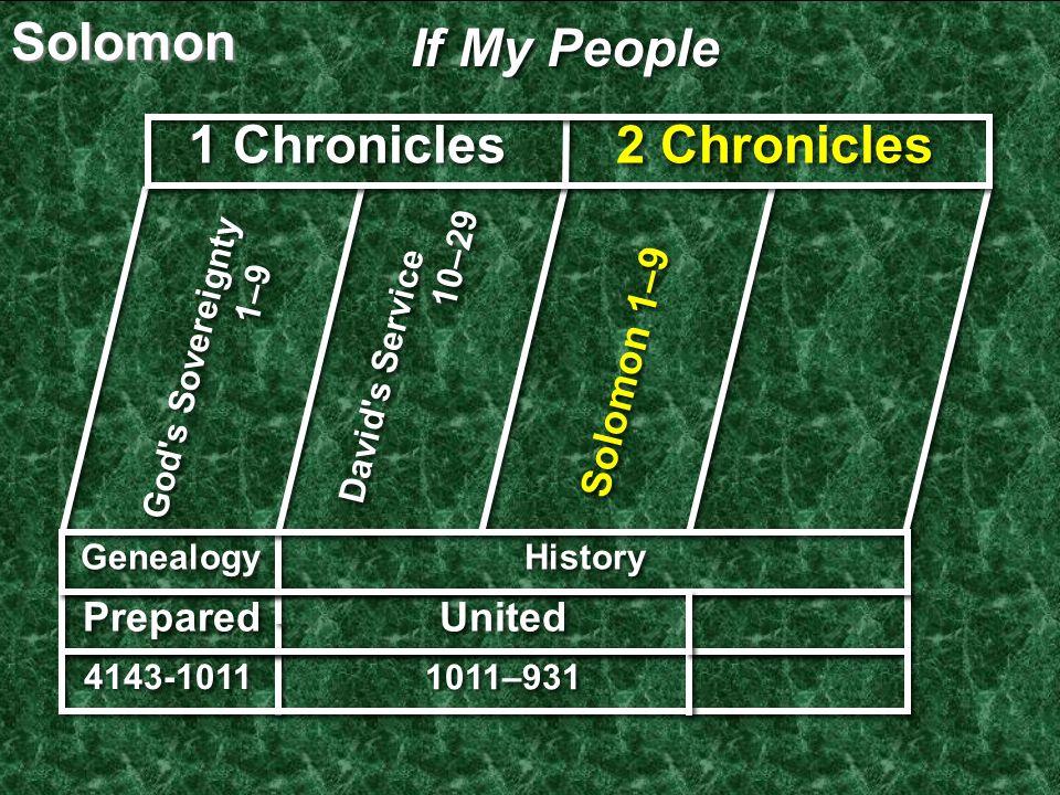 If My People God s Sovereignty 1–9 Genealogy Solomon 1–9 United 4143-1011 1 Chronicles David s Service 10–29 2 Chronicles History 1011–931 Prepared Solomon