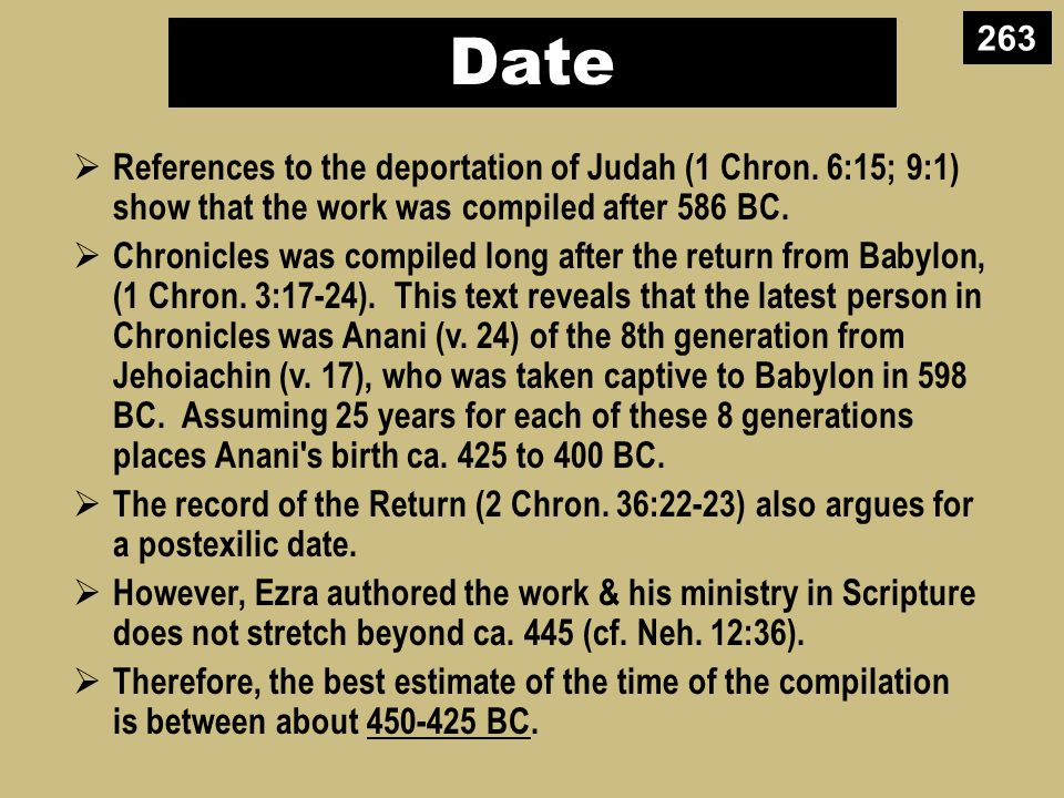 Date  References to the deportation of Judah (1 Chron.