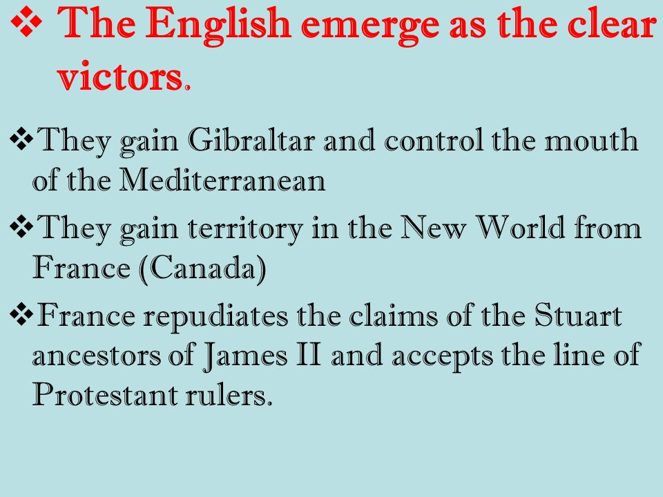  The English emerge as the clear victors.