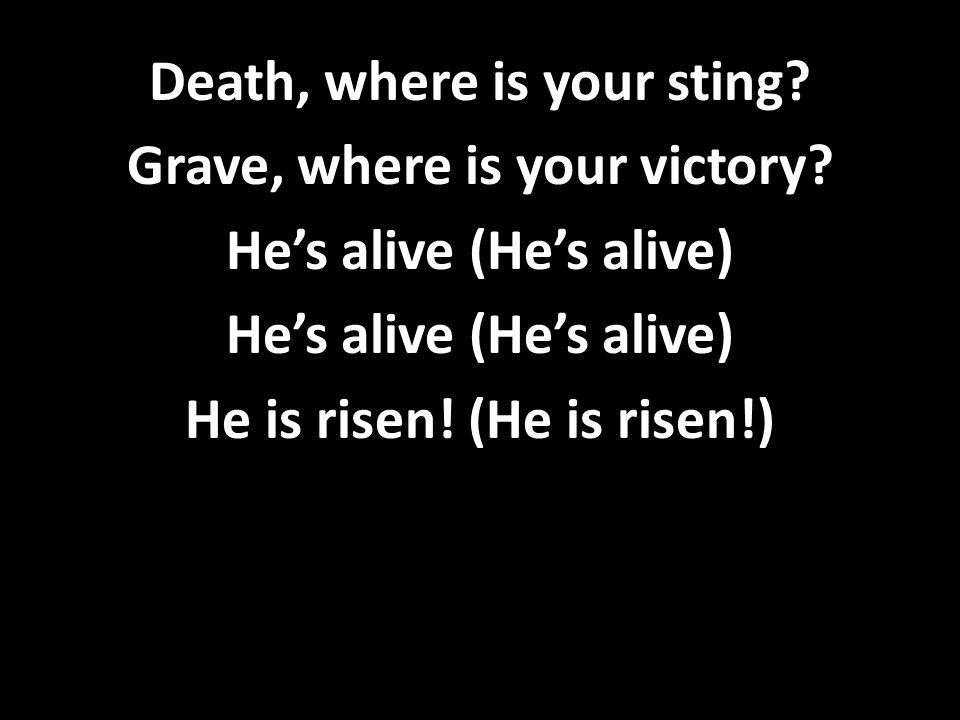 Death, where is your sting.Grave, where is your victory.