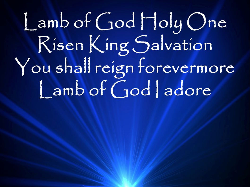 Lamb of God Holy One Risen King Salvation You shall reign forevermore Lamb of God I adore