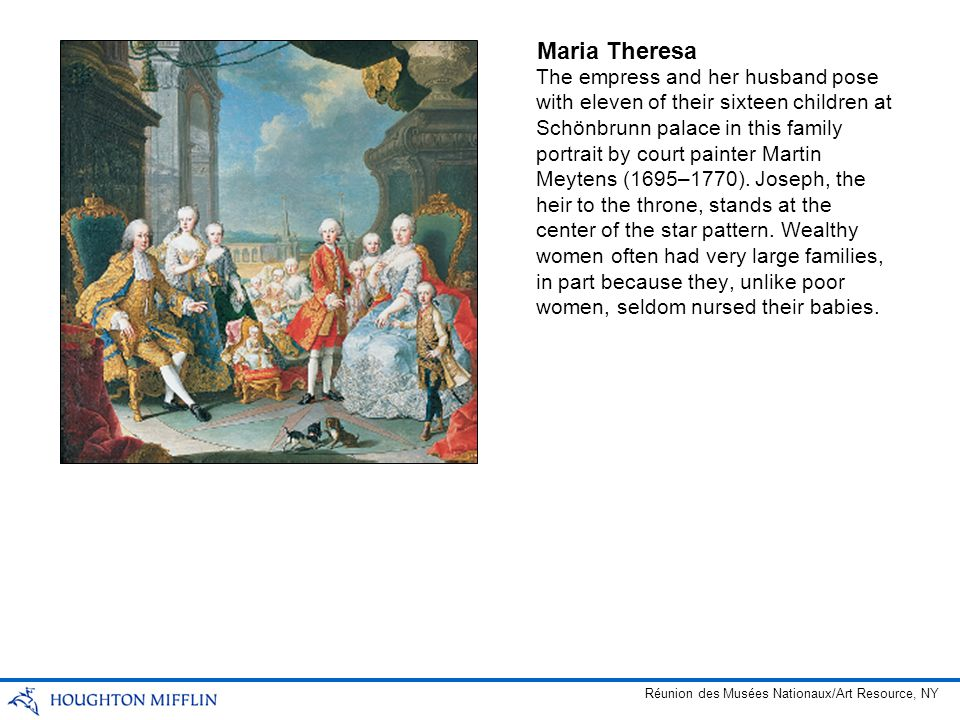 The empress and her husband pose with eleven of their sixteen children at Schönbrunn palace in this family portrait by court painter Martin Meytens (1
