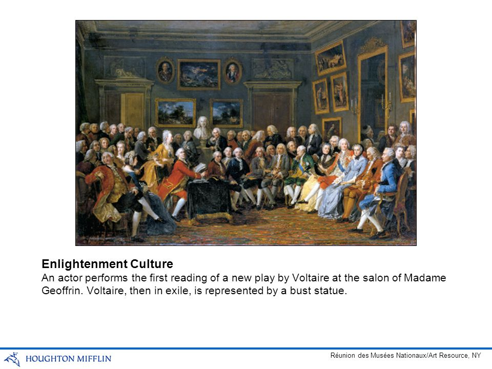 An actor performs the first reading of a new play by Voltaire at the salon of Madame Geoffrin. Voltaire, then in exile, is represented by a bust statu