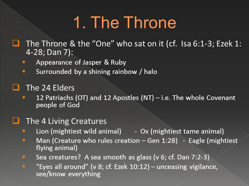  The Throne & the One who sat on it (cf.
