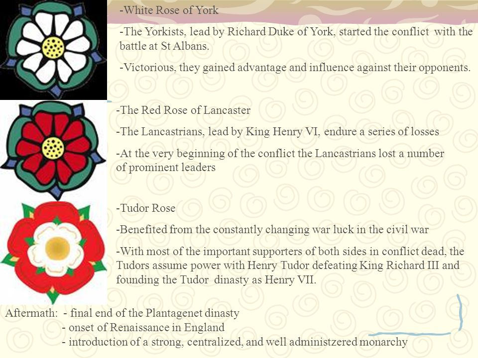 -White Rose of York -The Yorkists, lead by Richard Duke of York, started the conflict with the battle at St Albans.