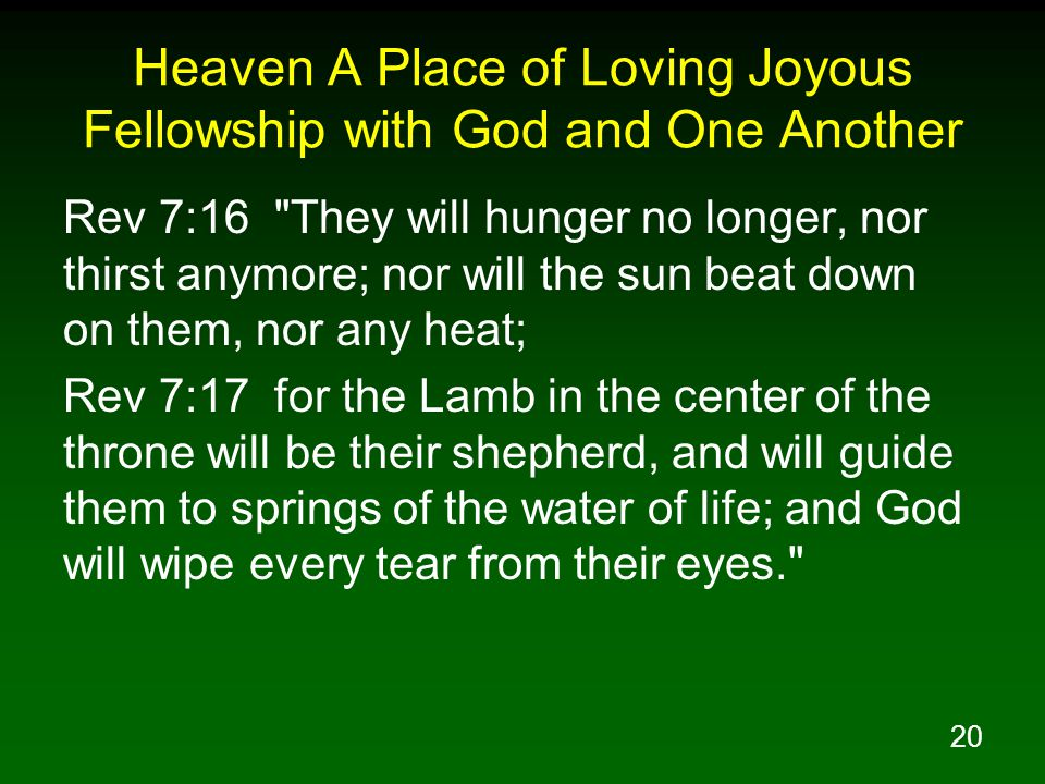 20 Heaven A Place of Loving Joyous Fellowship with God and One Another Rev 7:16