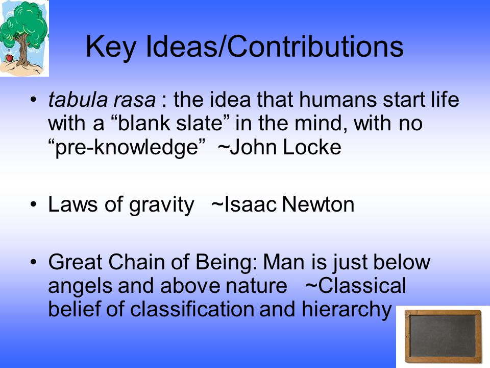 Key Ideas/Contributions tabula rasa : the idea that humans start life with a blank slate in the mind, with no pre-knowledge ~John Locke Laws of gravity ~Isaac Newton Great Chain of Being: Man is just below angels and above nature ~Classical belief of classification and hierarchy