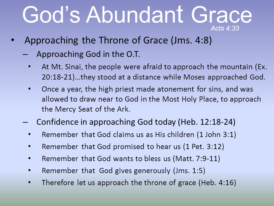 Approaching the Throne of Grace (Jms. 4:8) – Approaching God in the O.T.
