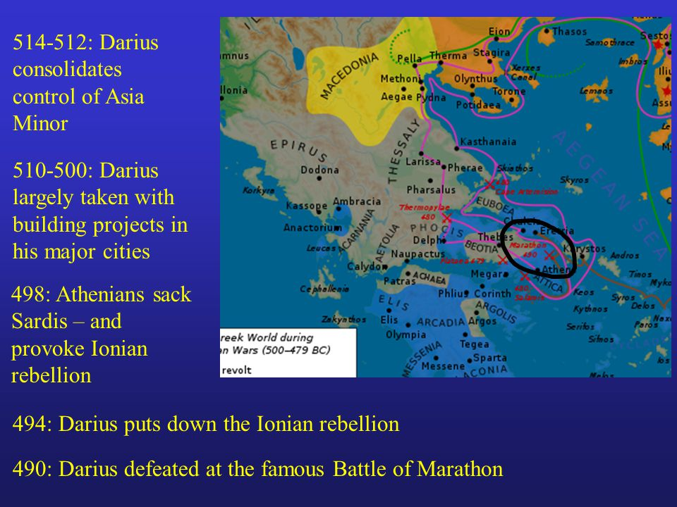 514-512: Darius consolidates control of Asia Minor 510-500: Darius largely taken with building projects in his major cities 498: Athenians sack Sardis – and provoke Ionian rebellion 494: Darius puts down the Ionian rebellion 490: Darius defeated at the famous Battle of Marathon