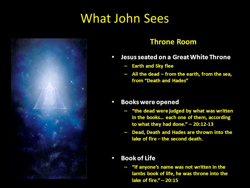 "What John Sees Throne Room Jesus seated on a Great White Throne – Earth and Sky flee – All the dead – from the earth, from the sea, from ""Death and Ha"