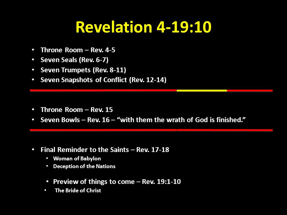 Revelation 4-19:10 Throne Room – Rev. 4-5 Seven Seals (Rev. 6-7) Seven Trumpets (Rev. 8-11) Seven Snapshots of Conflict (Rev. 12-14) Throne Room – Rev
