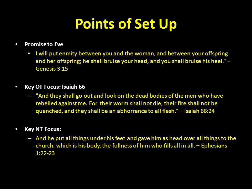 Points of Set Up Promise to Eve I will put enmity between you and the woman, and between your offspring and her offspring; he shall bruise your head,
