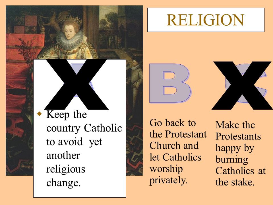 RELIGION  Keep the country Catholic to avoid yet another religious change.