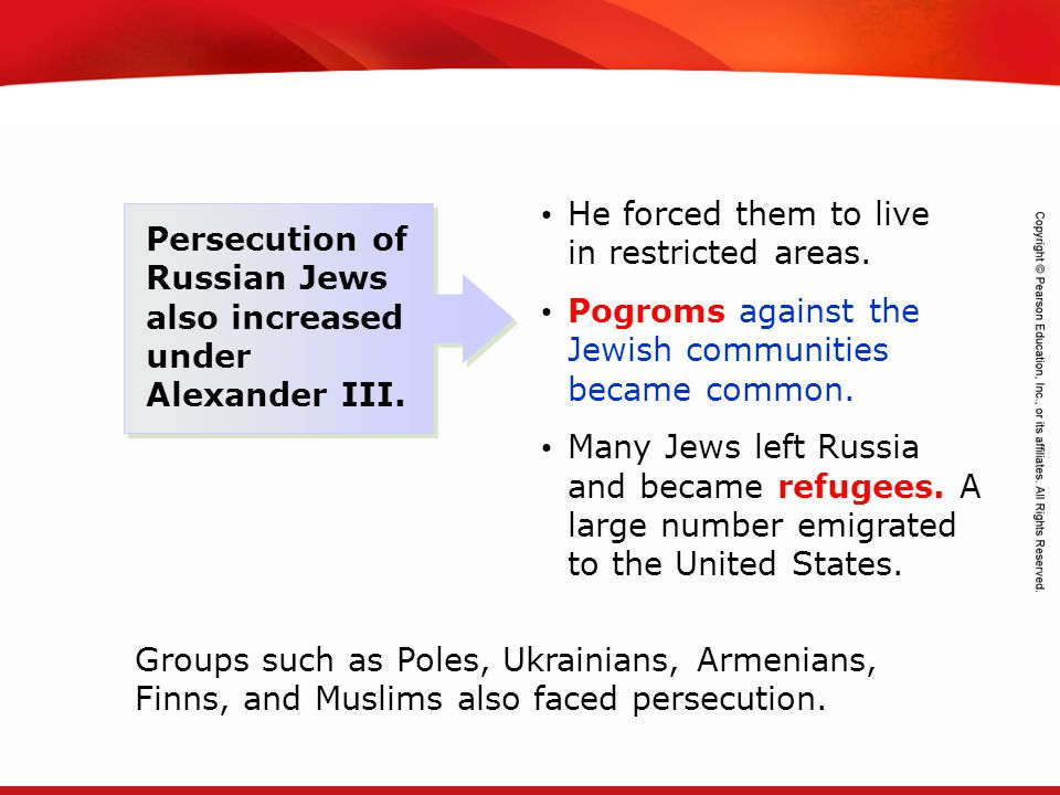 TEKS 8C: Calculate percent composition and empirical and molecular formulas. Persecution of Russian Jews also increased under Alexander III. He forced