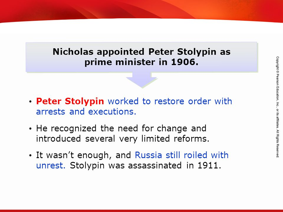 TEKS 8C: Calculate percent composition and empirical and molecular formulas. Nicholas appointed Peter Stolypin as prime minister in 1906. Peter Stolyp