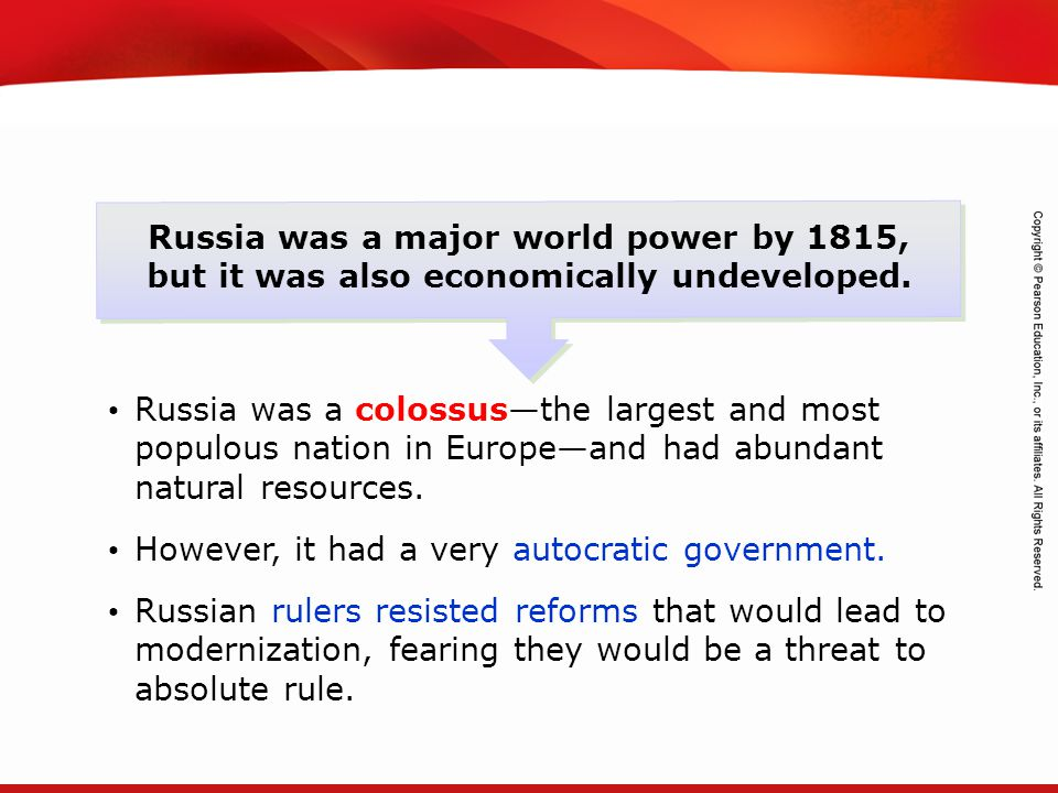 TEKS 8C: Calculate percent composition and empirical and molecular formulas. Russia was a major world power by 1815, but it was also economically unde