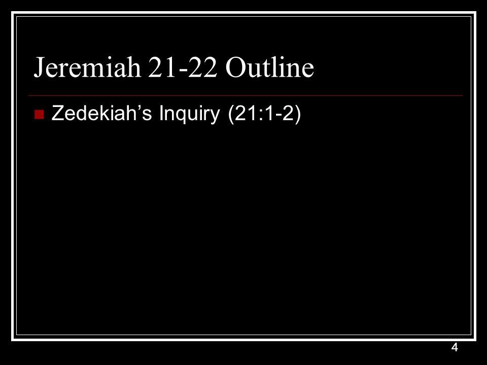 4 Jeremiah 21-22 Outline Zedekiah's Inquiry (21:1-2)