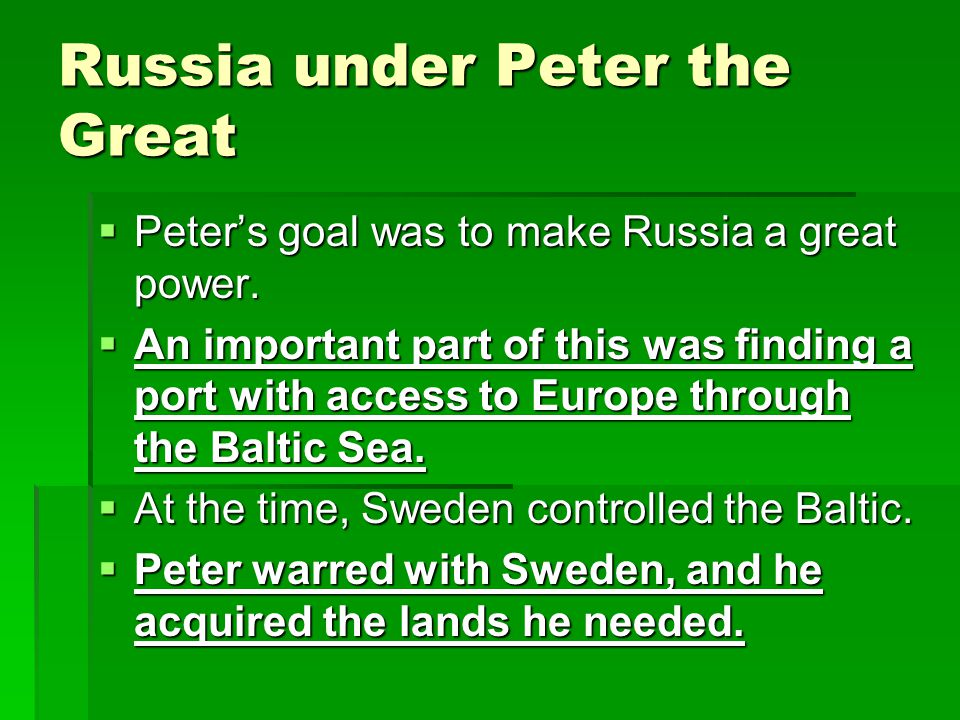 Russia under Peter the Great  Peter introduced Western customs and etiquette.  At court, Russian beards had to be shaved and coats shortened, for ex