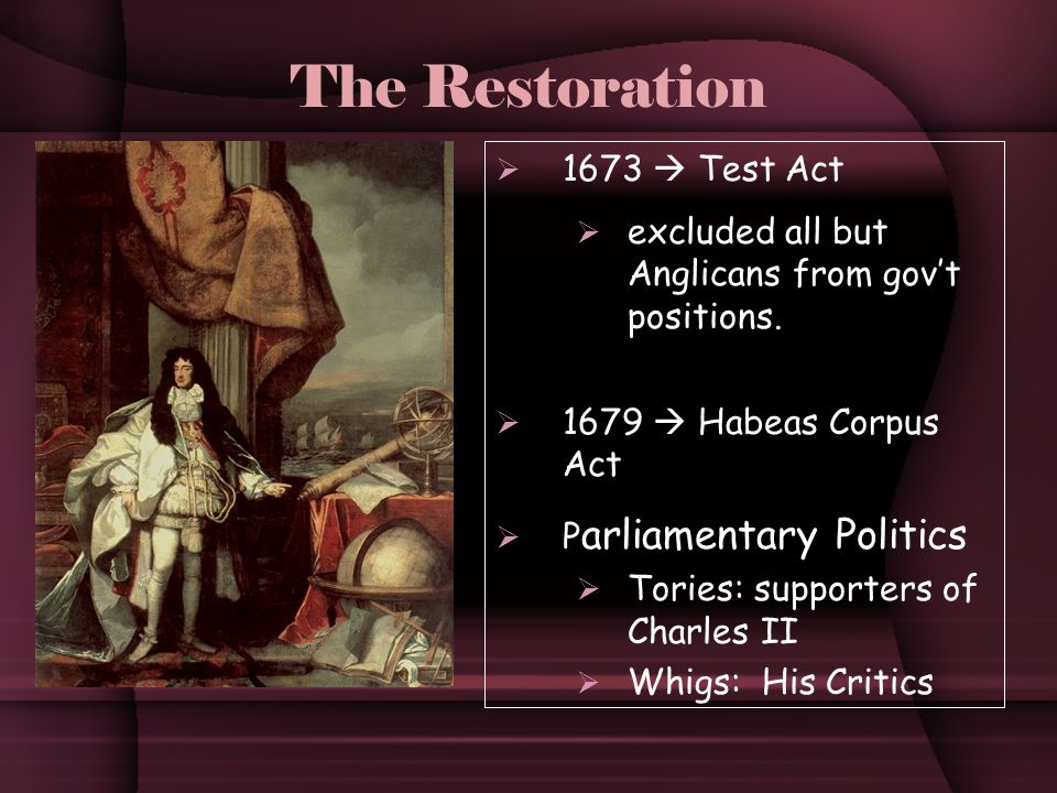 The Restoration  1673  Test Act  excluded all but Anglicans from gov't positions.