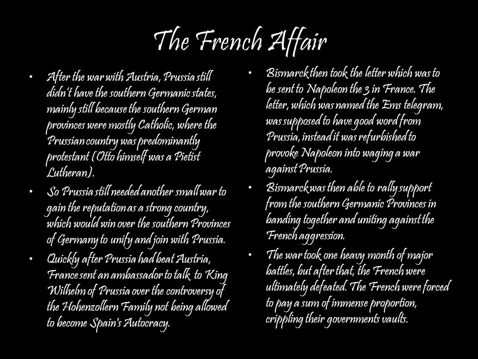 Unifying an Empire France was also forced to give up a large section known as the Alsace and part of Lorraine.