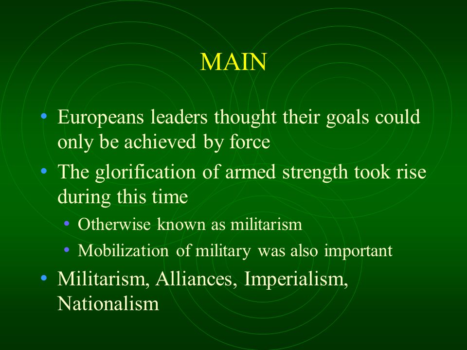 The System of Alliances The Triple Alliance Italy Germany Austria-Hungary The Triple Entente France Russia Also had a secret alliance with Italy Great Britain Video