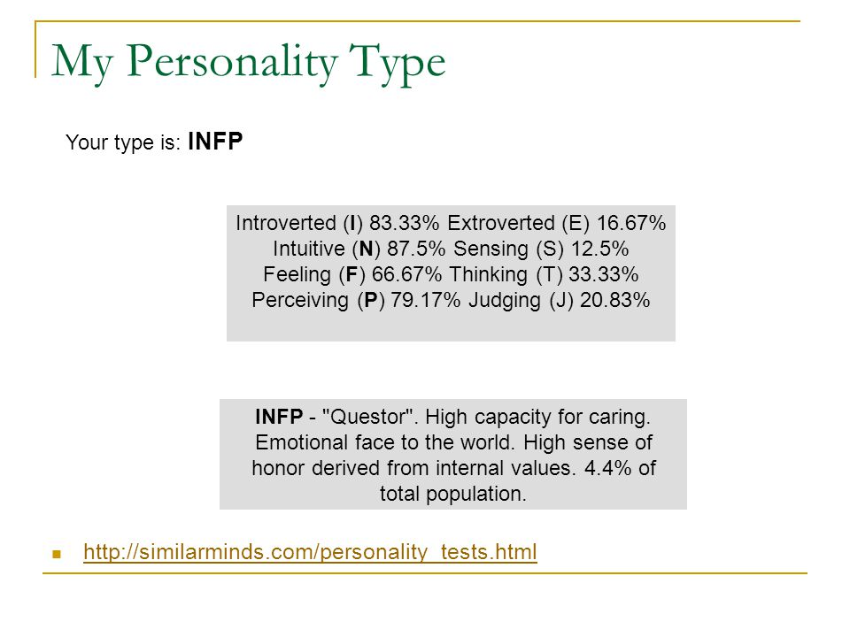 My Personality Type http://similarminds.com/personality_tests.html Jung Test Results Introverted (I) 83.33% Extroverted (E) 16.67% Intuitive (N) 87.5% Sensing (S) 12.5% Feeling (F) 66.67% Thinking (T) 33.33% Perceiving (P) 79.17% Judging (J) 20.83% Your type is: INFP INFP - Questor .