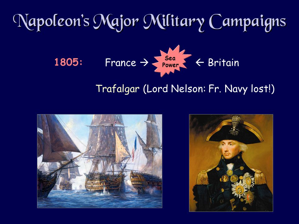 Napoleon's Major Military Campaigns Trafalgar (Lord Nelson: Fr.