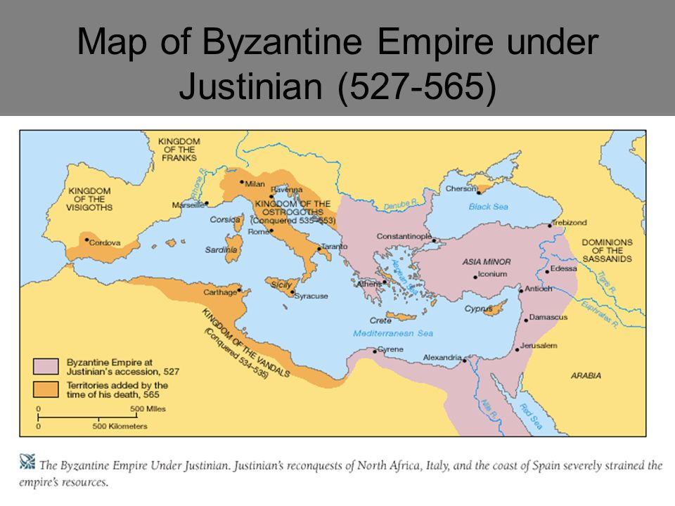 Map of Byzantine Empire under Justinian (527-565)