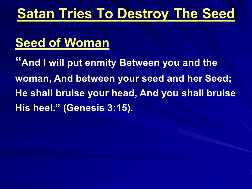 Satan Tries To Destroy The Seed God Delivered Noah Then the LORD saw that the wickedness of man was great in the earth, and that every intent of the thoughts of his heart was only evil continually.