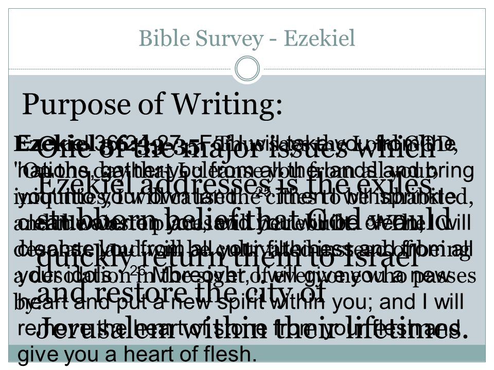 Bible Survey - Ezekiel Purpose of Writing: One of the major issues which Ezekiel addresses is the exiles' stubborn belief that God would quickly return them to Israel and restore the city of Jerusalem within their lifetimes.