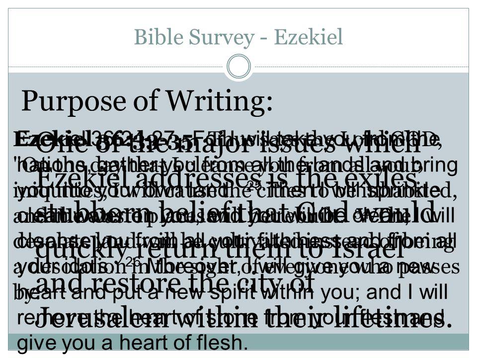 Bible Survey - Ezekiel Christ in Ezekiel: 1. The Throne of God 2. The Cedar Sprig 3. The Temple