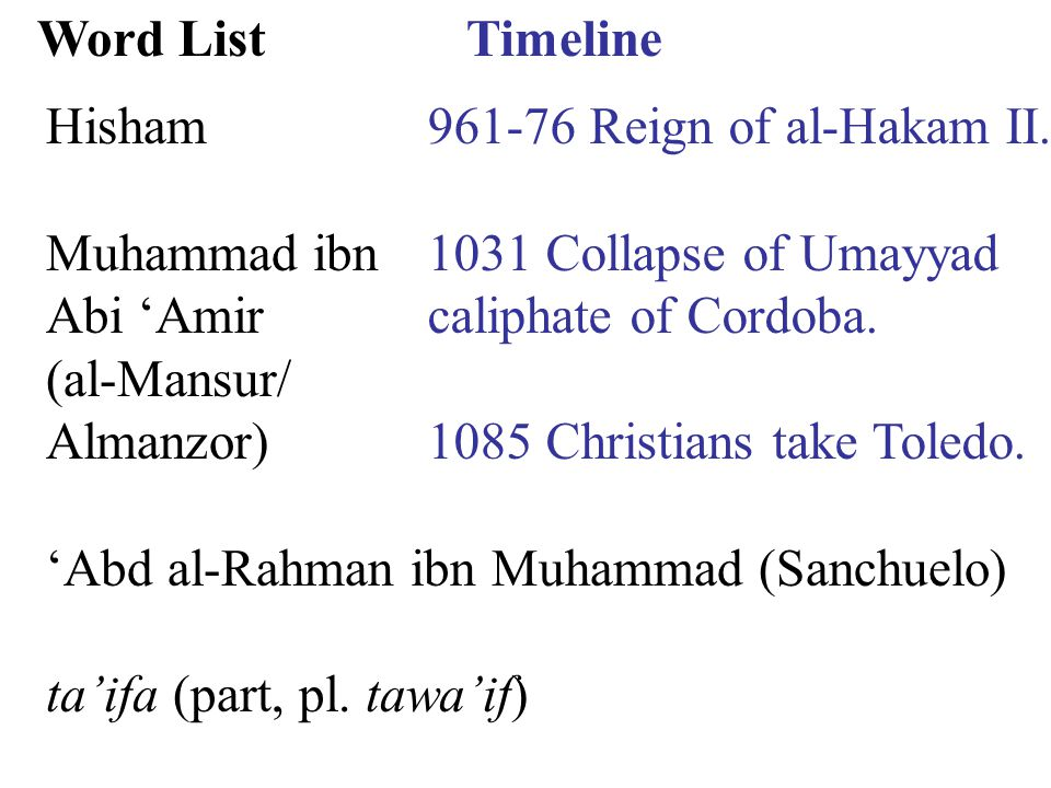 Timeline 961-76 Reign of al-Hakam II. 1031 Collapse of Umayyad caliphate of Cordoba.