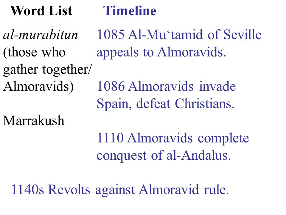 Timeline 1085 Al-Mu'tamid of Seville appeals to Almoravids.