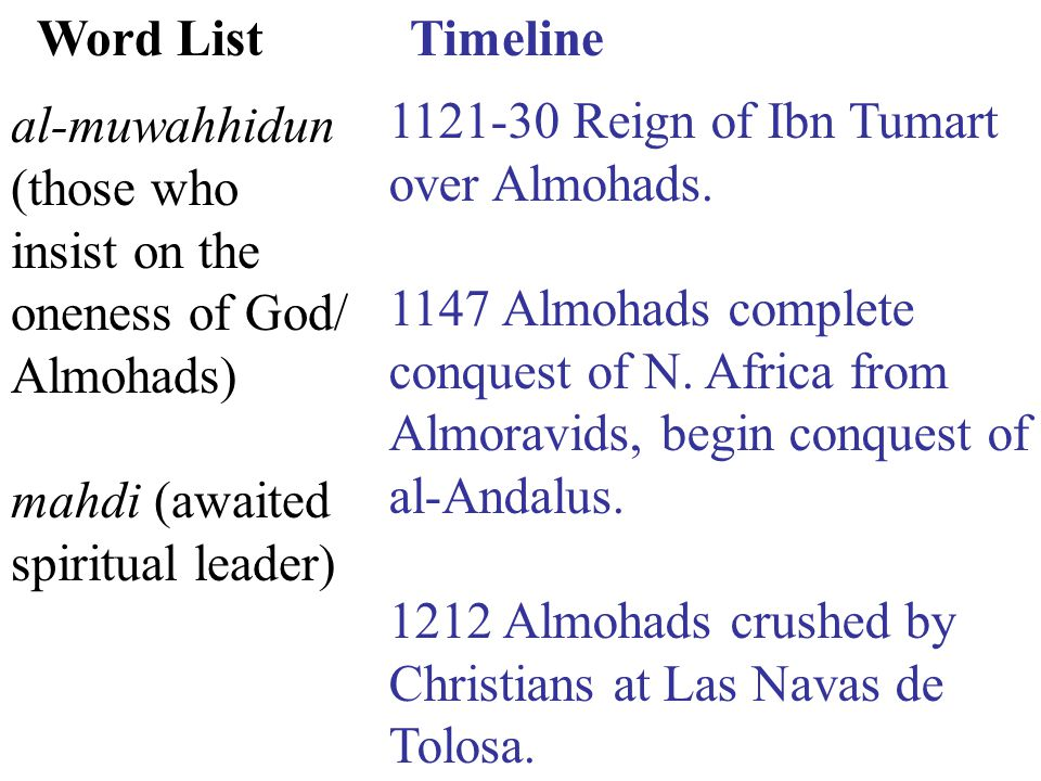 Timeline 1121-30 Reign of Ibn Tumart over Almohads.