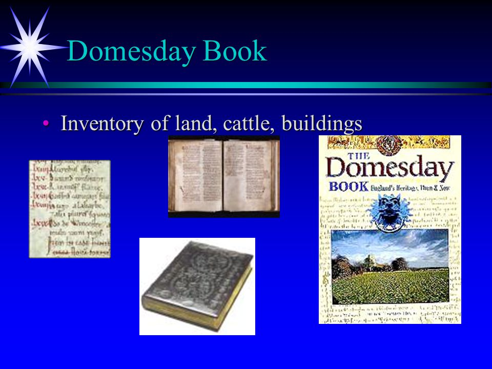 Domesday Book Inventory of land, cattle, buildingsInventory of land, cattle, buildings