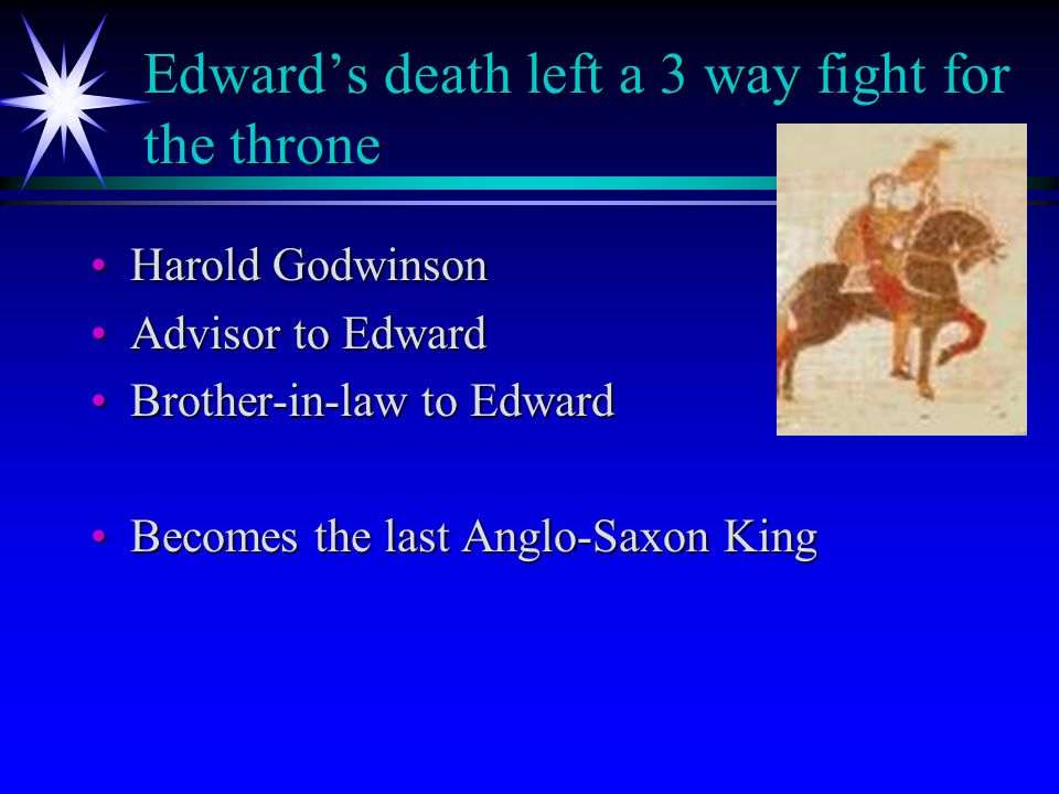 Harald Hardrada Harald Hardrada King of NorwayKing of Norway Had an agreement with the king (Harthacut) before EdwardHad an agreement with the king (Harthacut) before Edward If either of them died, the other could have their throne.If either of them died, the other could have their throne.