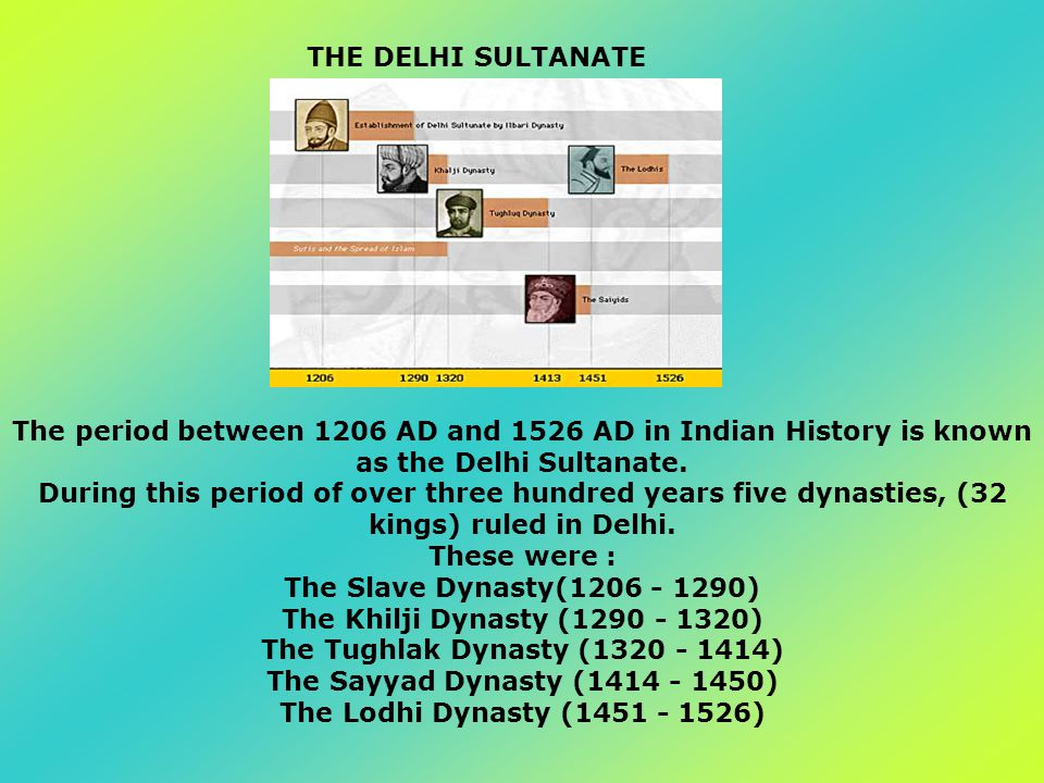 The period between 1206 AD and 1526 AD in Indian History is known as the Delhi Sultanate. During this period of over three hundred years five dynastie