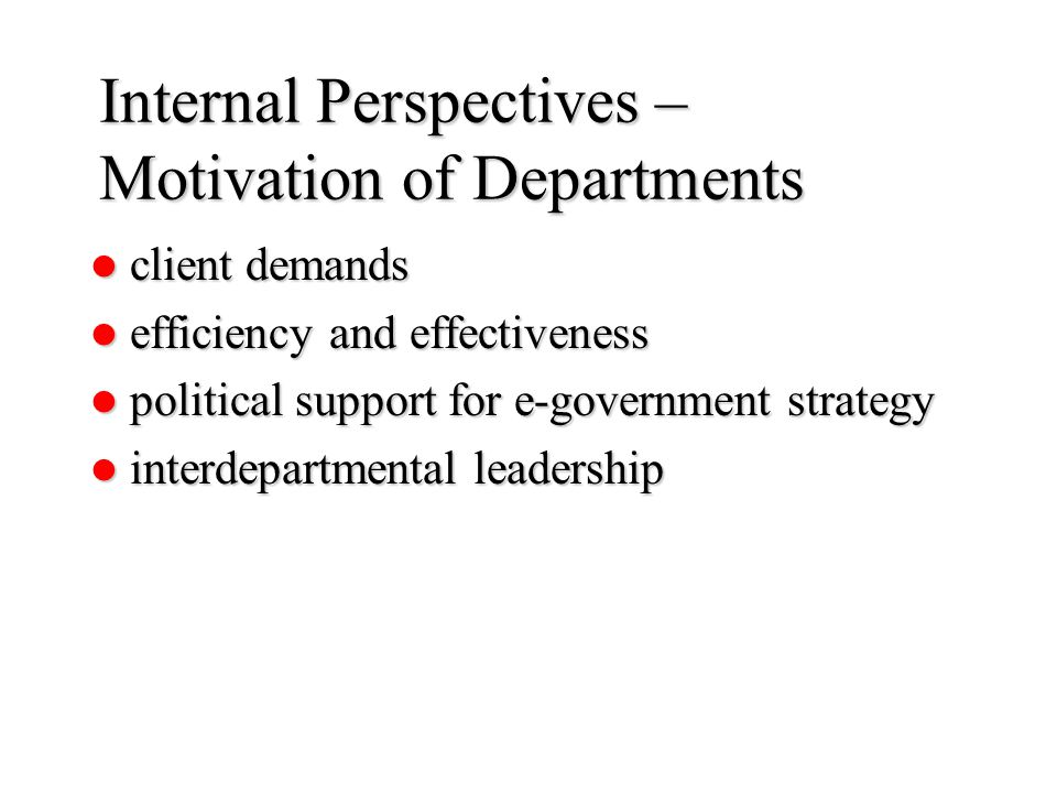 Internal Perspectives – Motivation of Departments client demands client demands efficiency and effectiveness efficiency and effectiveness political support for e-government strategy political support for e-government strategy interdepartmental leadership interdepartmental leadership