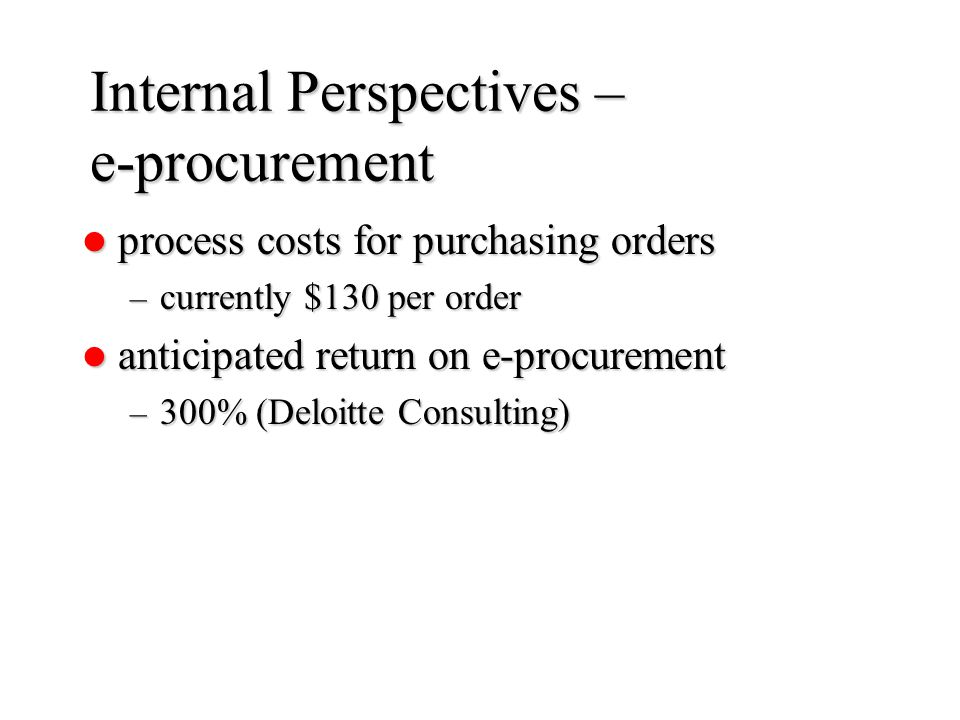 Internal Perspectives – e-procurement process costs for purchasing orders process costs for purchasing orders – currently $130 per order anticipated return on e-procurement anticipated return on e-procurement – 300% (Deloitte Consulting)