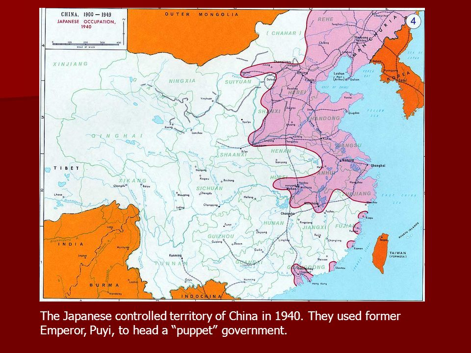 The Japanese controlled territory of China in 1940.