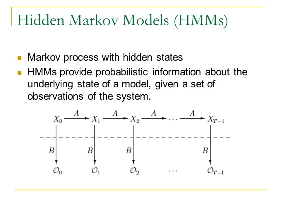 Hidden Markov Models (HMMs) Markov process with hidden states HMMs provide probabilistic information about the underlying state of a model, given a set of observations of the system.