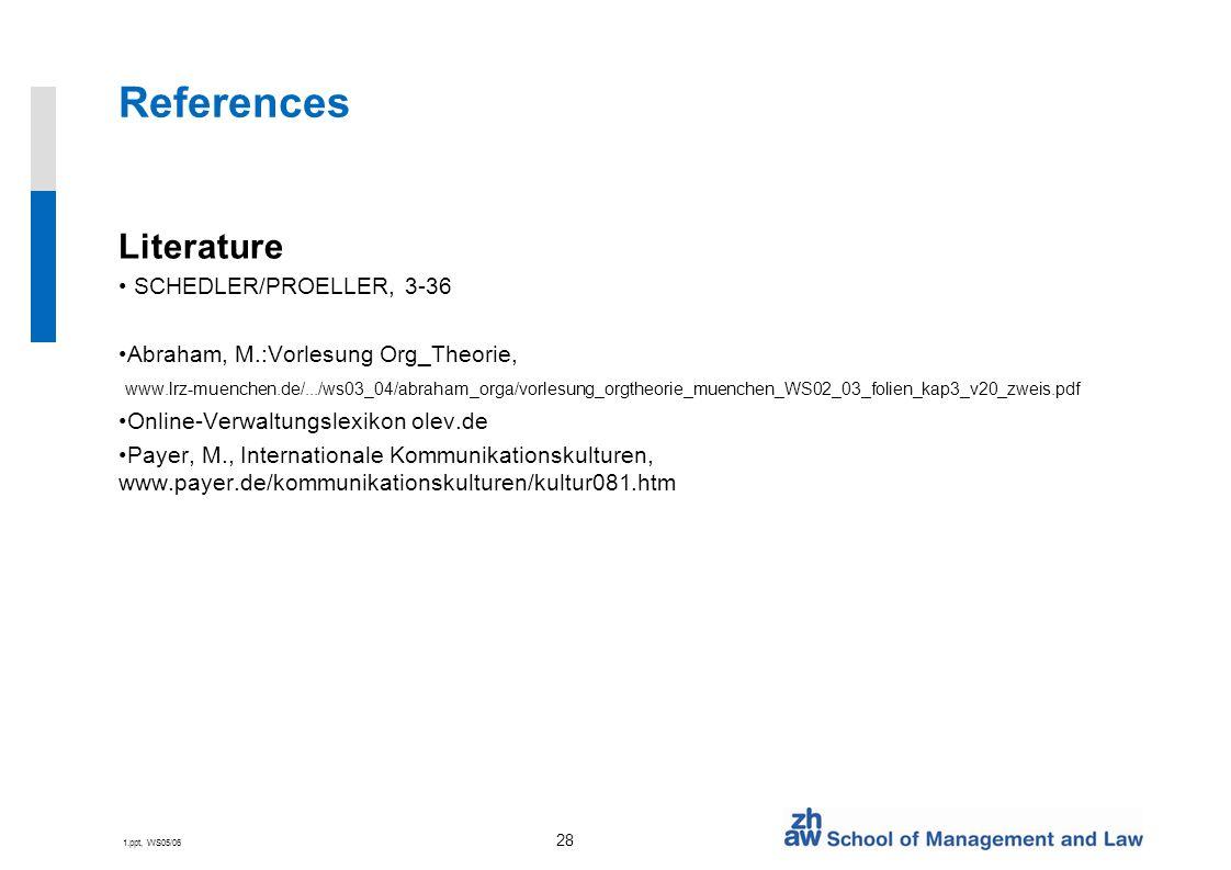 1.ppt, WS05/06 28 References Literature SCHEDLER/PROELLER, 3-36 Abraham, M.:Vorlesung Org_Theorie, www.lrz-muenchen.de/.../ws03_04/abraham_orga/vorlesung_orgtheorie_muenchen_WS02_03_folien_kap3_v20_zweis.pdf Online-Verwaltungslexikon olev.de Payer, M., Internationale Kommunikationskulturen, www.payer.de/kommunikationskulturen/kultur081.htm