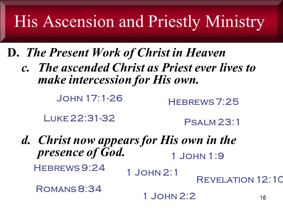 16 His Ascension and Priestly Ministry D.