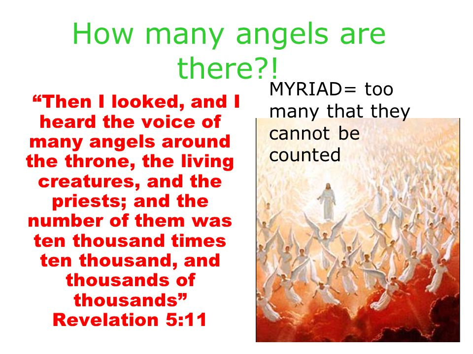 "How many angels are there?! ""Then I looked, and I heard the voice of many angels around the throne, the living creatures, and the priests; and the num"