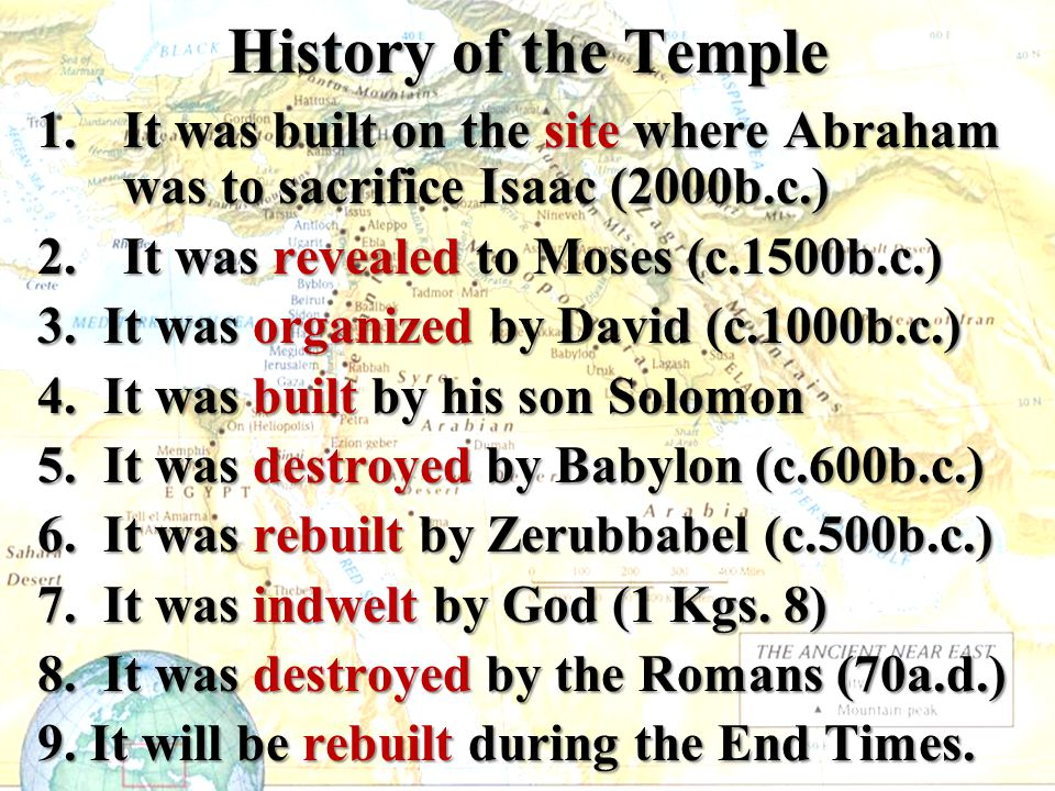 History of the Temple 1.It was built on the site where Abraham was to sacrifice Isaac (2000b.c.) 2.It was revealed to Moses (c.1500b.c.) 3. It was org