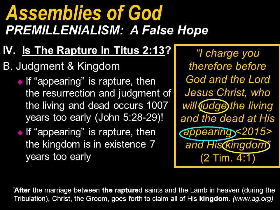 IV.Is The Rapture In Titus 2:13. B.